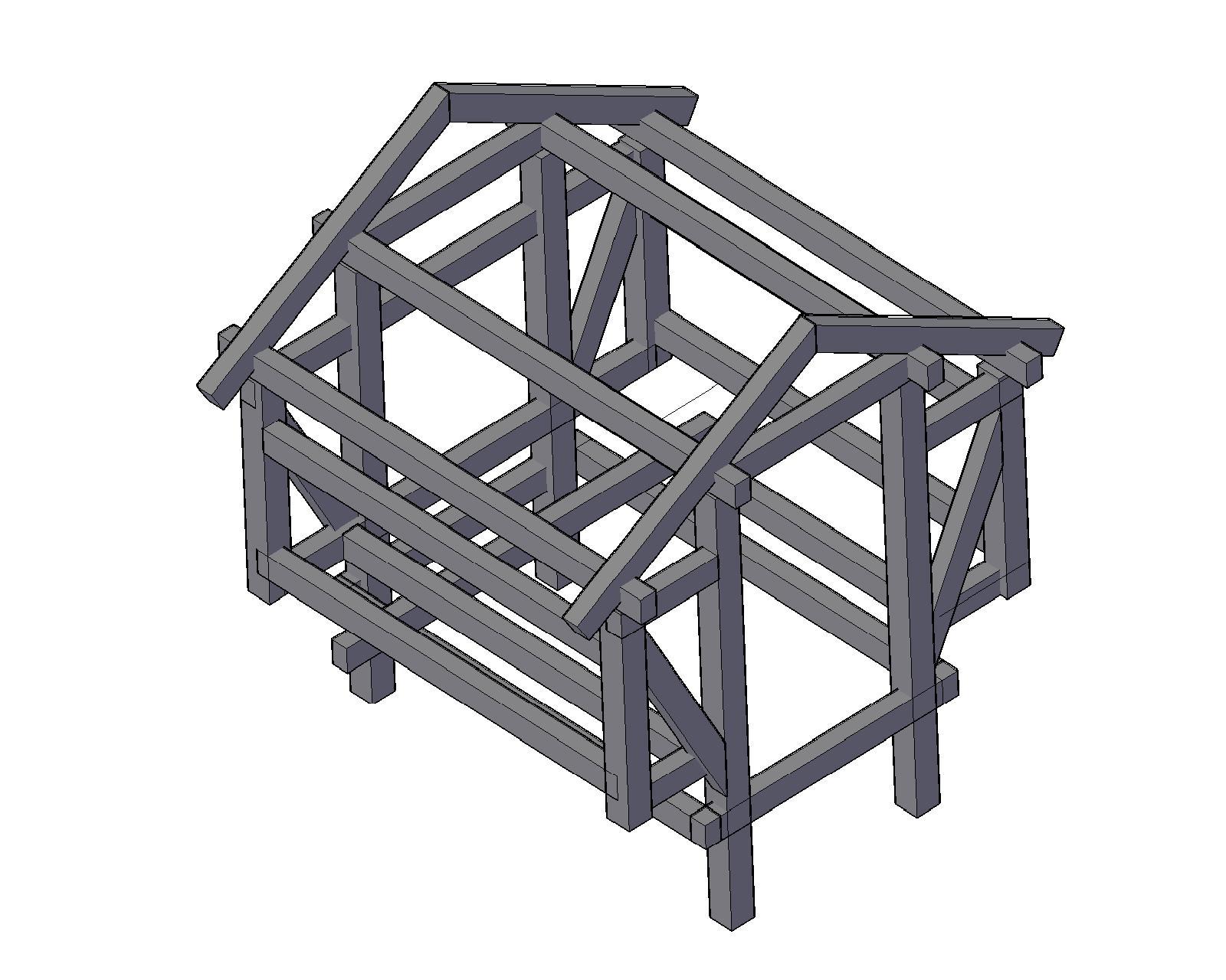 Shelteret måler 280 cm x 280 cm og er en bindingsværkkonstruktion. Illustration: Mikkel Johansen