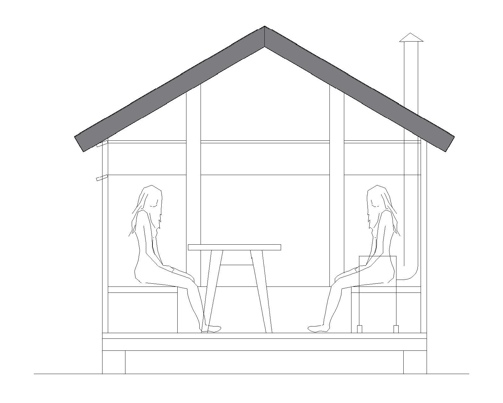 Tværsnit af shelteret. I midten et mobilt bord. De brede brikse bruges både til at sidde på og ligge på Illustration: Mikkel Johansen